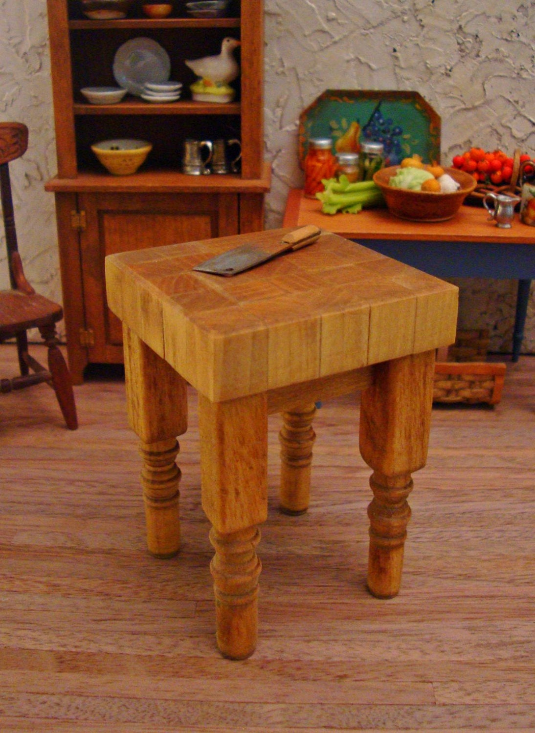 Butcher block kitchen work table 1 12 scale by westonminiature - Butcher block kitchen work table ...