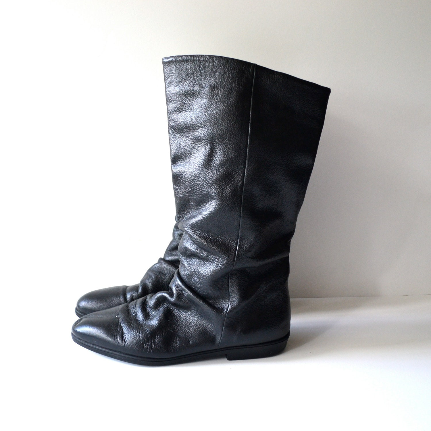 vintage black leather pirate boot flat slouchy by miskabelle