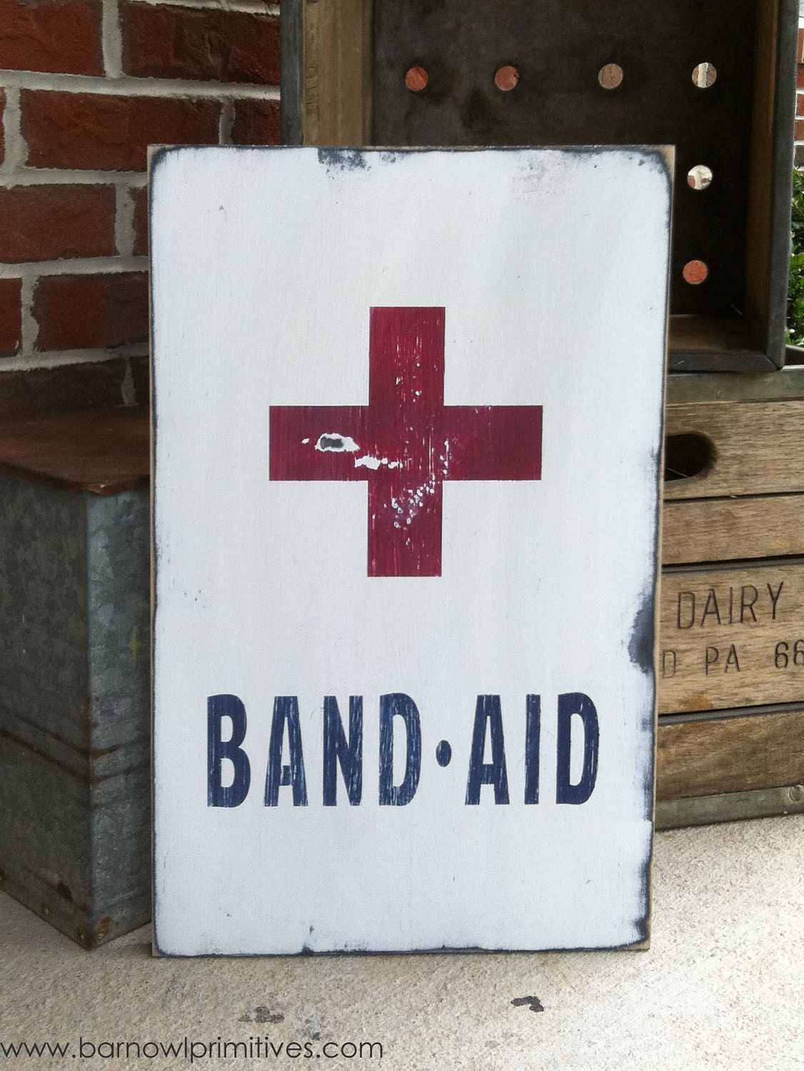 Band Aid Heavily Distressed Vintage Style Sign - barnowlprimitives