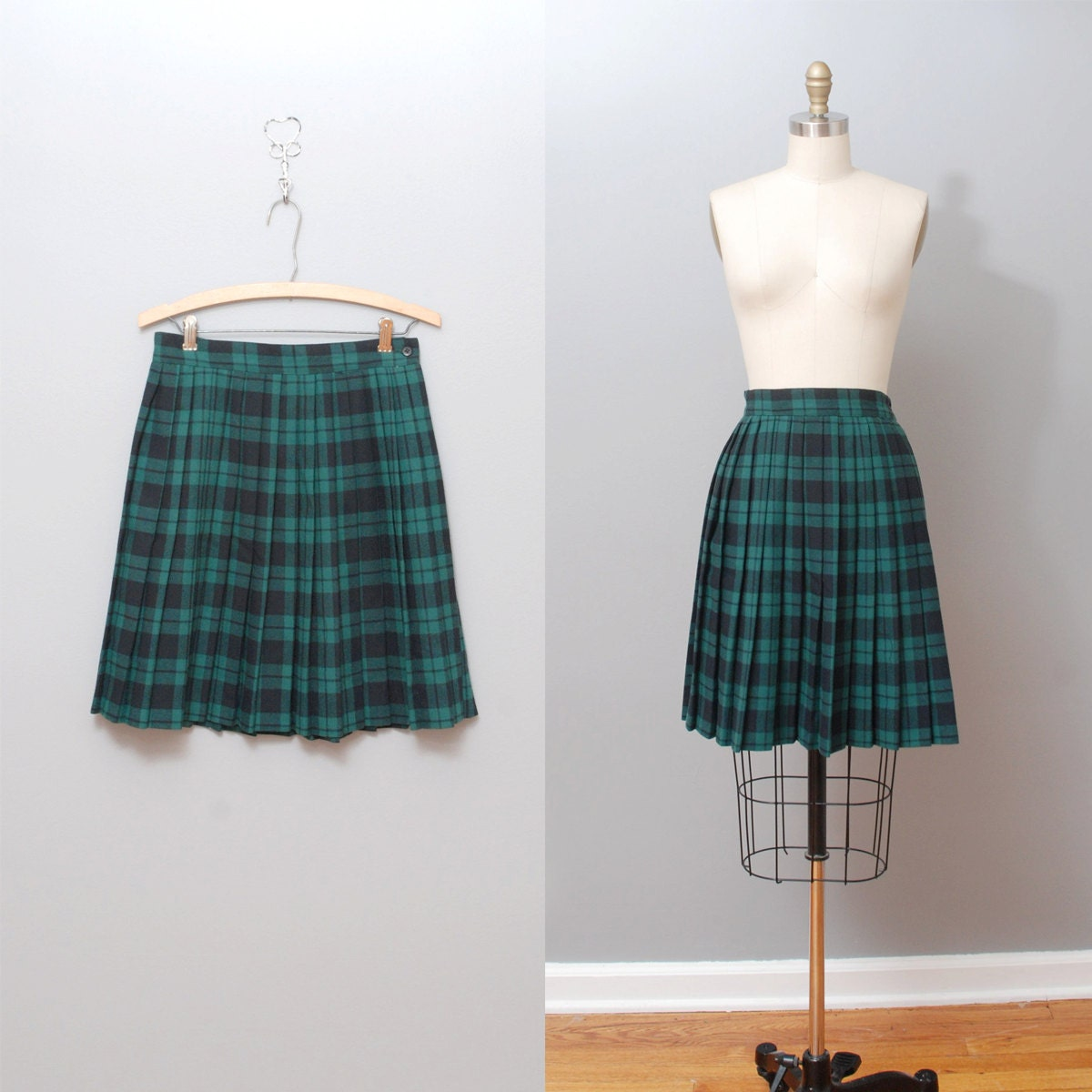 1980s wool plaid skirt green plaid pleated by