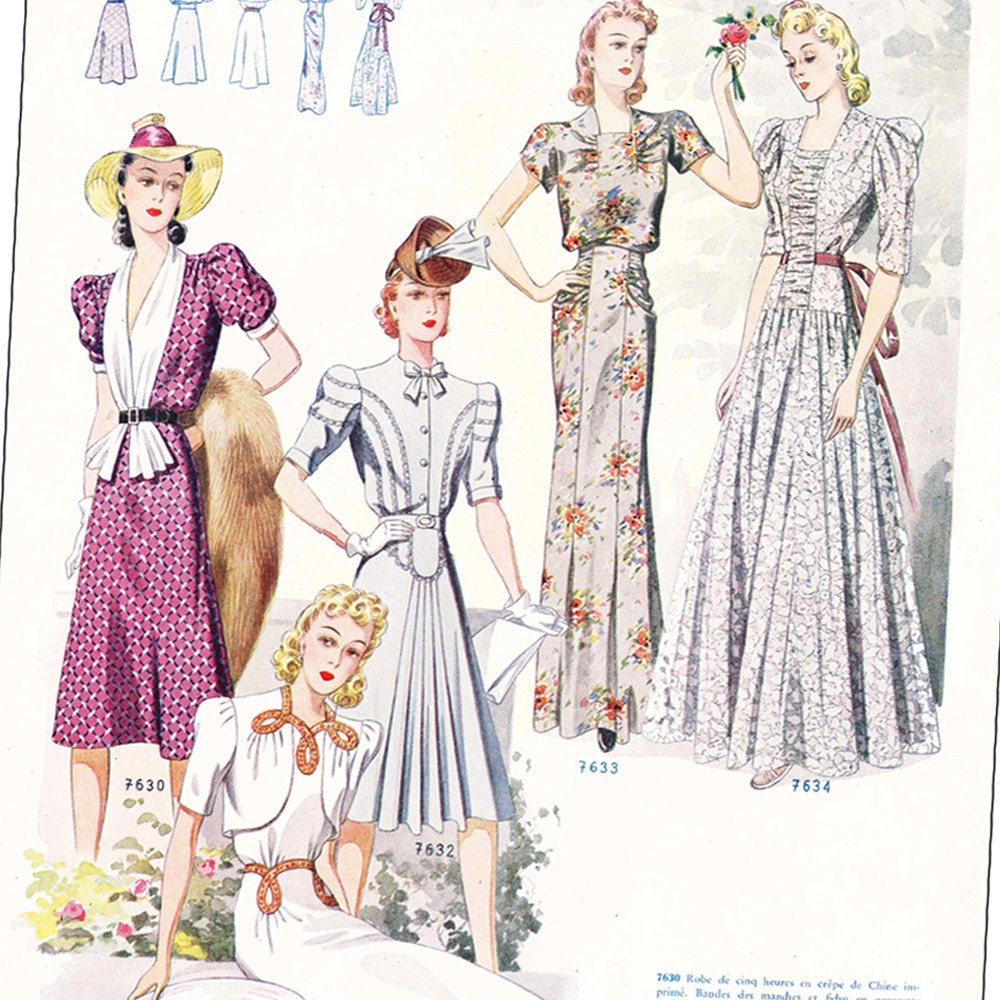 PDFs of 40s Summer French sewing pattern catalog  Iris  instant download