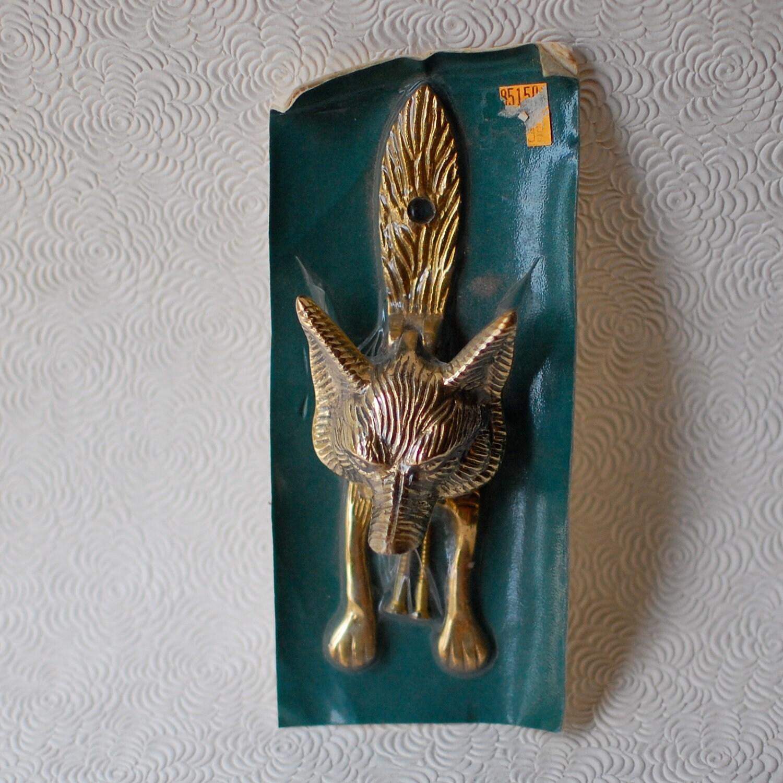 Brass door knocker vintage foxy fox by stonebridgeworks on for Custom made door knockers