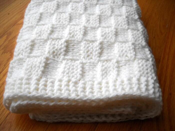 White Baby Blanket Hand Knit Basketweave by BabyBlanketsAndETC