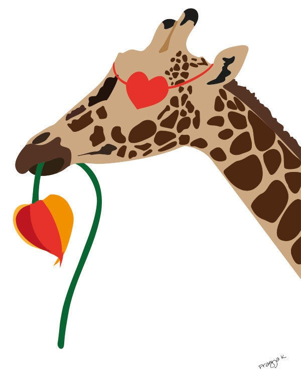 Love art print - 'Romeo in love' -  Giraffe print, illustration, 8x10, heart art