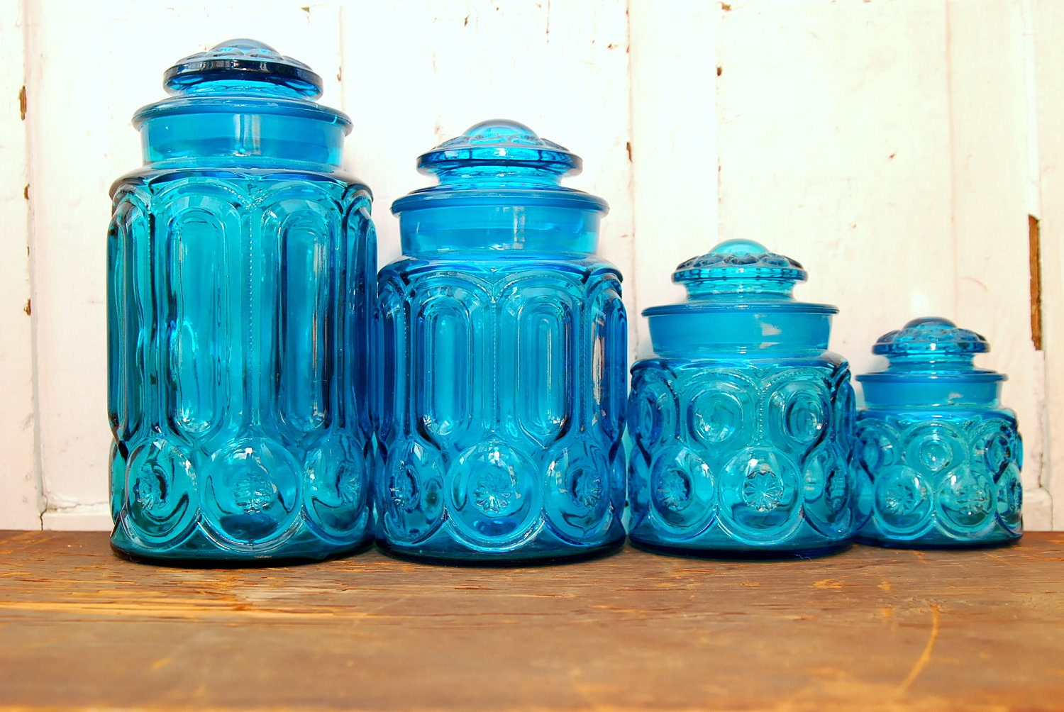 teal apothecary jars or canisters set of 4 by lakeandcabin