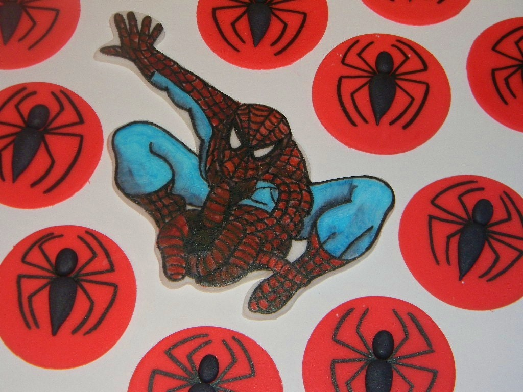 Fondant spiderman cupcake toppers - photo#6