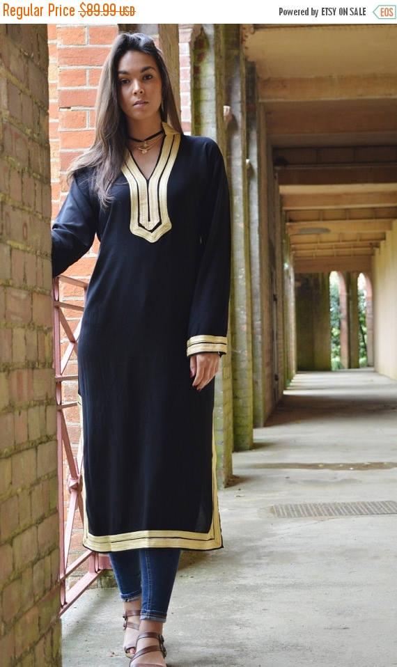 10 OFF Summer SALE  Autumn Mariam Style Black Caftan Kaftan  Perfect as loungewearresortwearspa robegift winter dress Birthdays or
