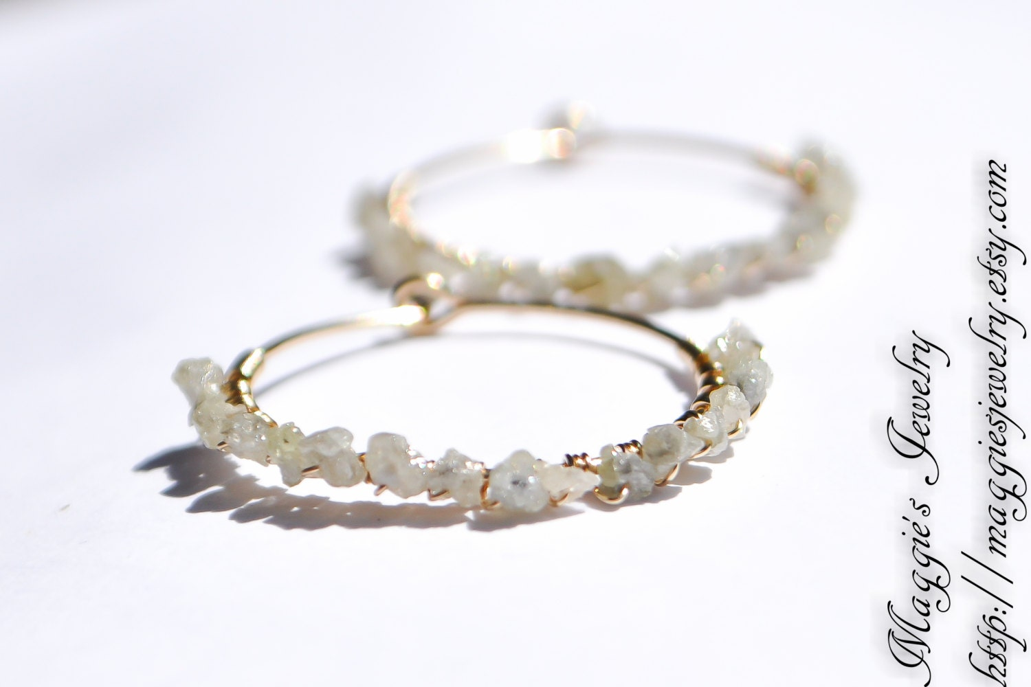 Diamond Earrings, Raw Diamond Hoops, Rough Diamond Earrings, Dainty, Genuine Diamond, 14k gold filled, Hoop Earrings - maggiesjewelry