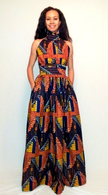 African print maxi dress by melangemode on etsy