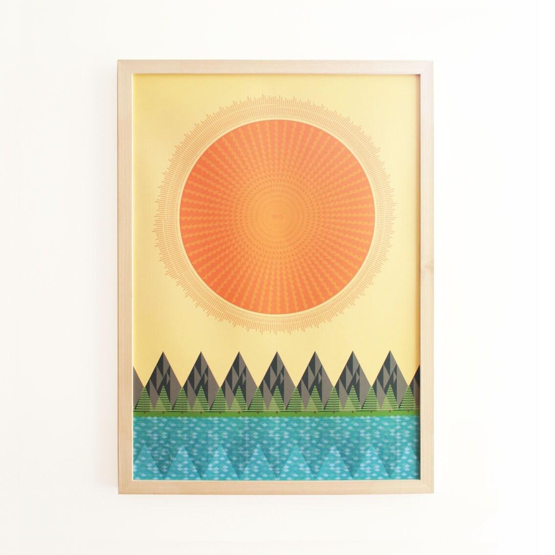 2013 The Sun, It Shines Typographic Calendar Poster