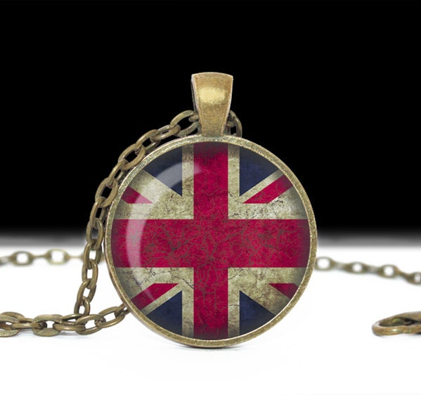 British Flag Necklace Union Jack Union Flag Grunge Glass Cameo Pendant Cabochon Tile Necklace Flag Jewelry Handmade Jewelry