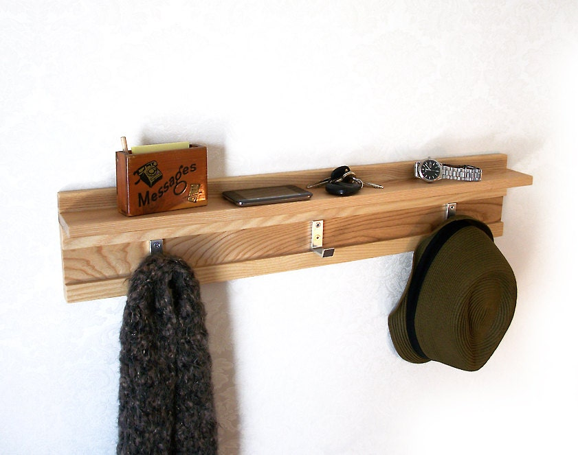 Ash Wood Coat Rack 3 Hook Modern Coat Rack By Hublerfurniture