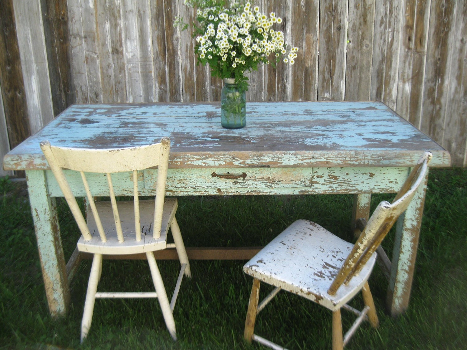 Primitive farmhouse work table with chippy old robin egg blue paint - littleshop86