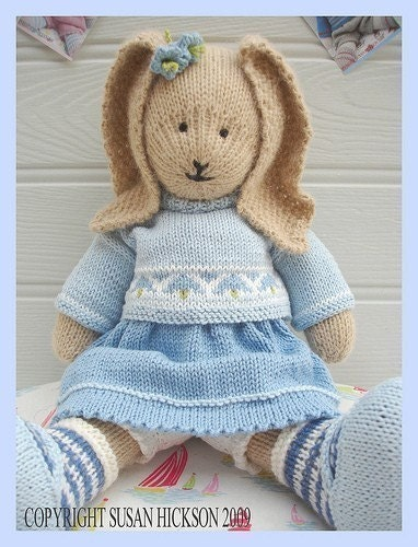 Knitting Patterns For Toy Rabbits : BLUEBELL Rabbit/ PDF Toy Knitting Pattern/ by maryjanestearoom