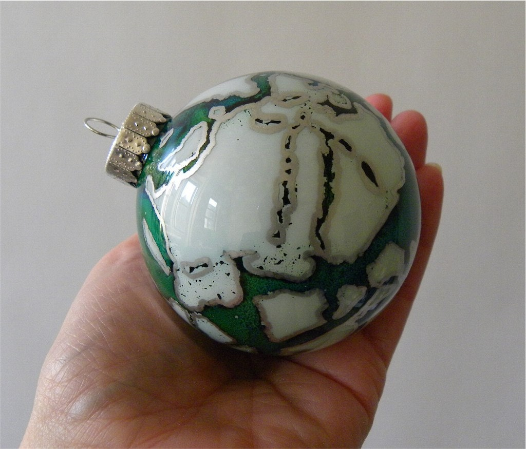 Glass Ornament - Hand Painted, One of a Kind Holiday Decoration - schemata