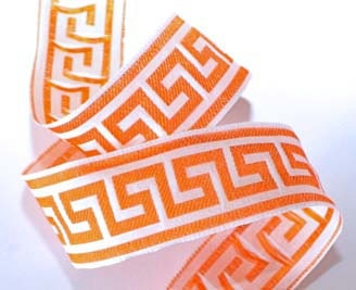 "Greek Key Ribbon - 1 1/2"" x 3 yds - Greek Key Design Orange and White"