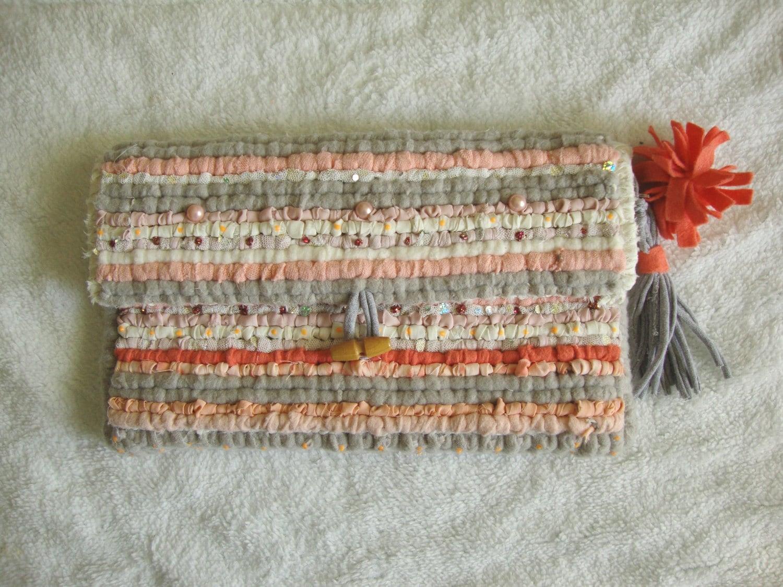 Unique hand woven locker hook oversized clutch bag spring summer pink peach nude colour handbag made using cotton fleece felt wool tulle