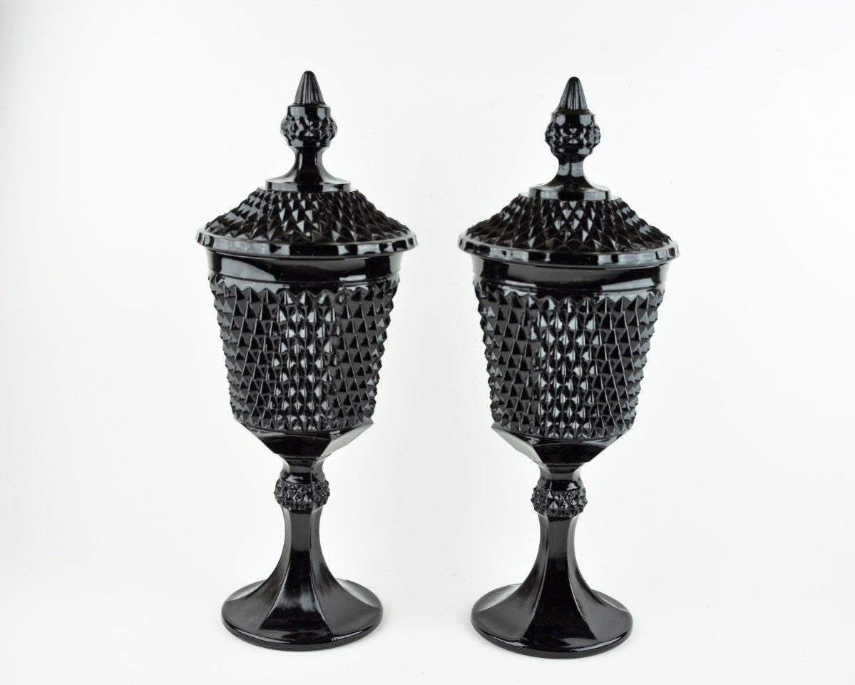 Vintage Black Milk Glass Hobnail Urn With Lid By Havenvintage