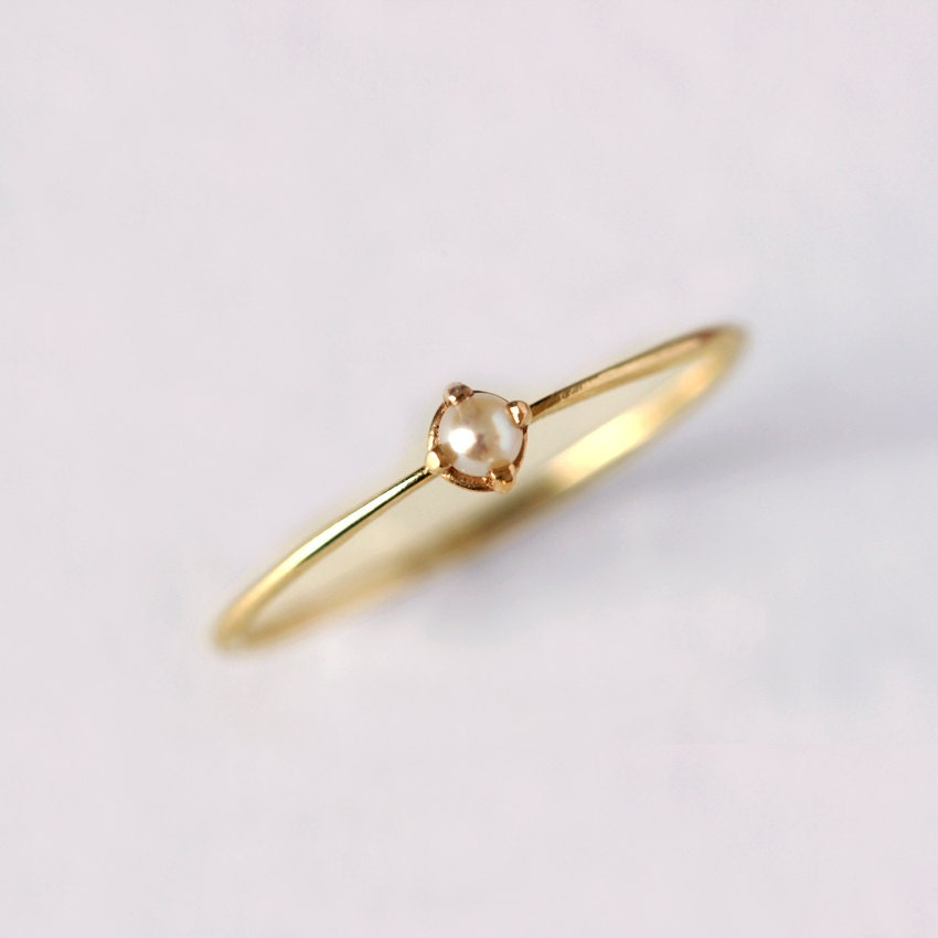 Gold Pearl Ring - Thin Gold Ring - 14 Solid Gold - artemer