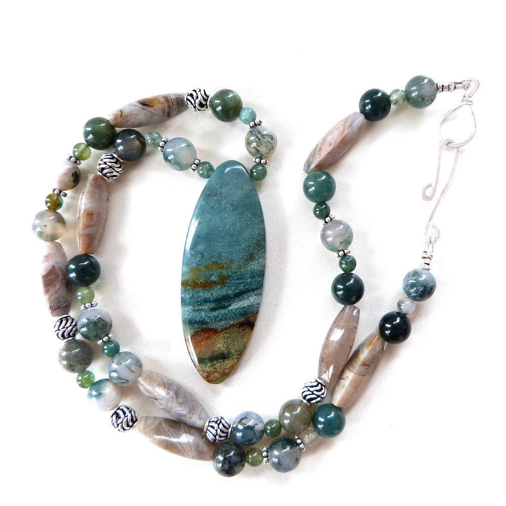 "Ocean Jasper Pendant Necklace with Agates, Sterling Silver, Blue, Green & Sand, Handmade: ""Stormy Beach"" - TransfigurationsJlry"