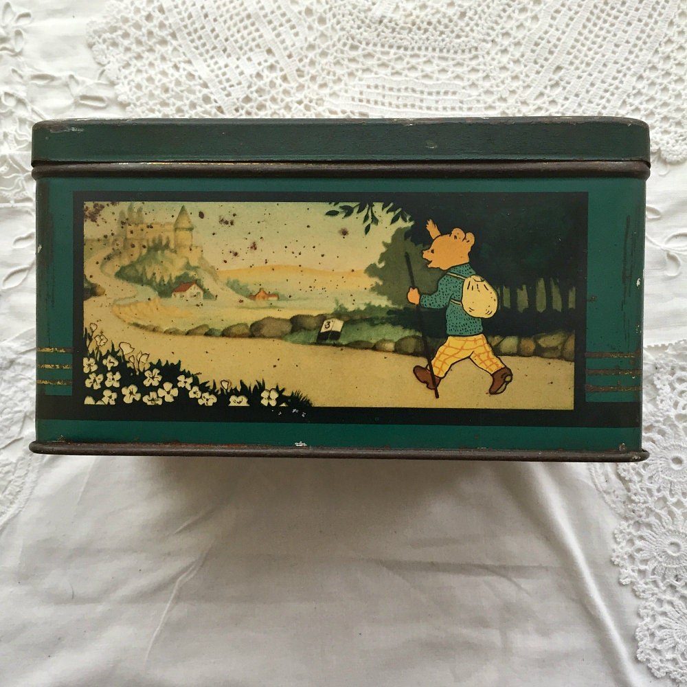 Very rare early vintage Dutch Rupert Bear tin, Branbergens Bruintje Beer biscuit tin, Rupert Bear Vintage Cookie Tin, Collectors Tin
