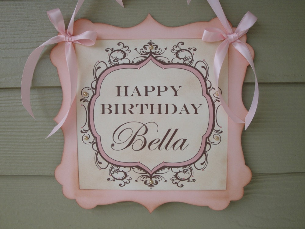 Pink Birthday Girl Door Sign Vintage Styled Shabby Chic Birthday Party Personalized