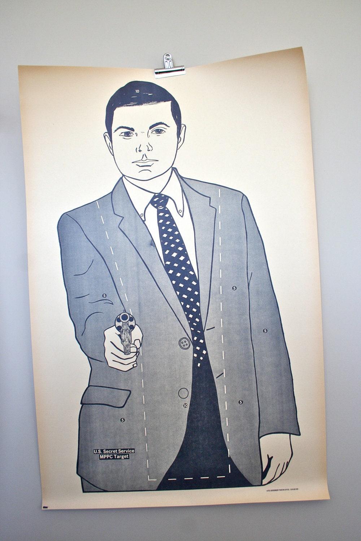vintage paper shooting target: RARE large 1970's secret service target poster - LegalMissSunshine