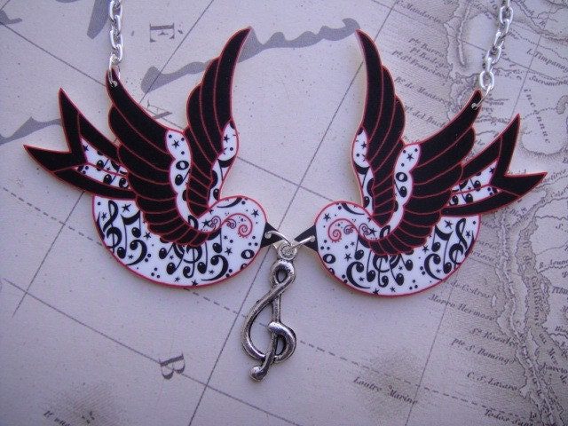 Red Black Swallow charms with music notes and stars