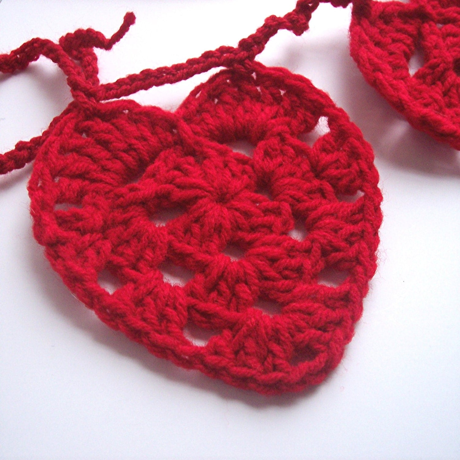 Heart Garland - Crochet Valentine Heart Garland Bunting Valentine's Day Red Hearts Crochet Garland - Ready to Ship - ThePrairieCottage