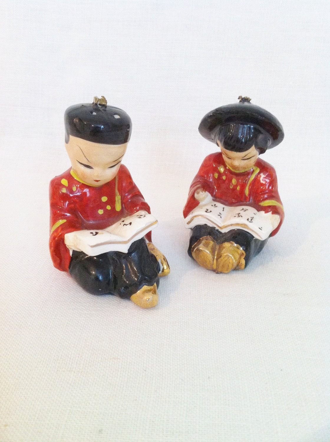 Vintage Chinese Children Salt And Pepper Shakers By Comforte