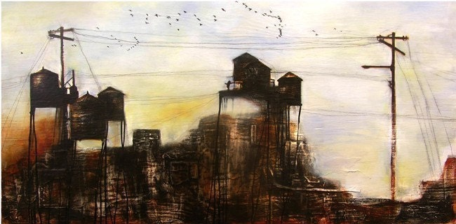 New York City Landscape Painting // 8x10 Print of New York // New York Water Towers - michelemaule