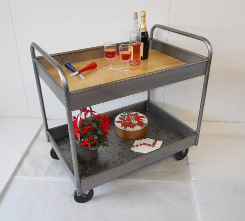 Industrial Kitchen Cart Bar Cart Serving By Maverickindustrial: Industrial Metal Bar Cart Serving Cart By Urbanfactoryclassics