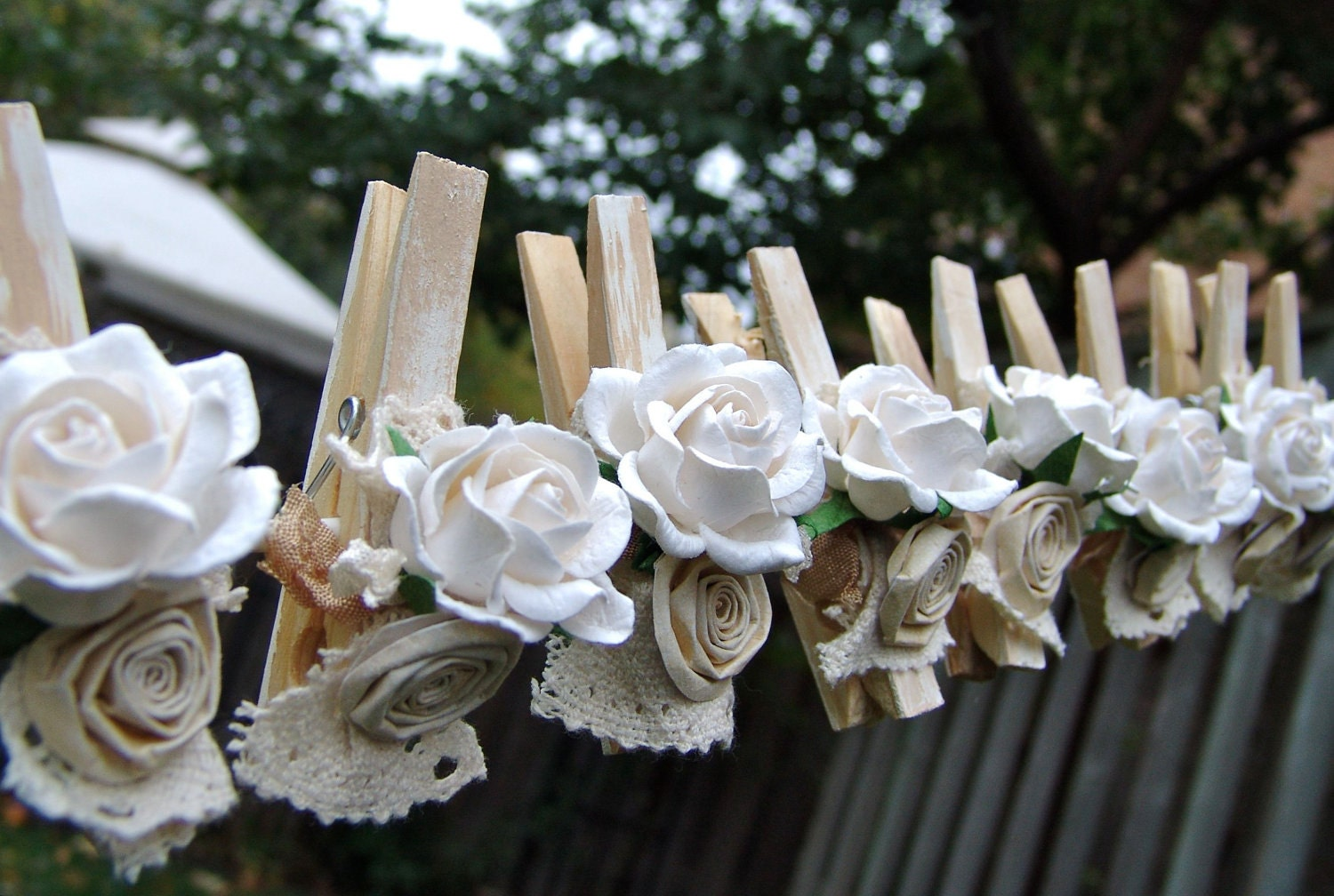 Shabby Chic Wedding Decorated Clothes Pins Decorated By Ilovethis