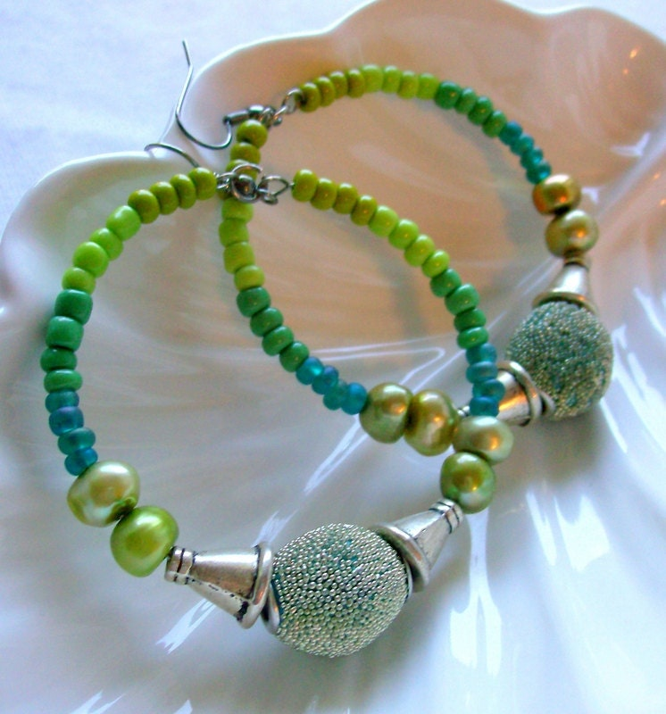 Autumn Green Hoop Earring - African Jewelry - Silver - Pearl - Tribal - Bohemian - stoneandbone