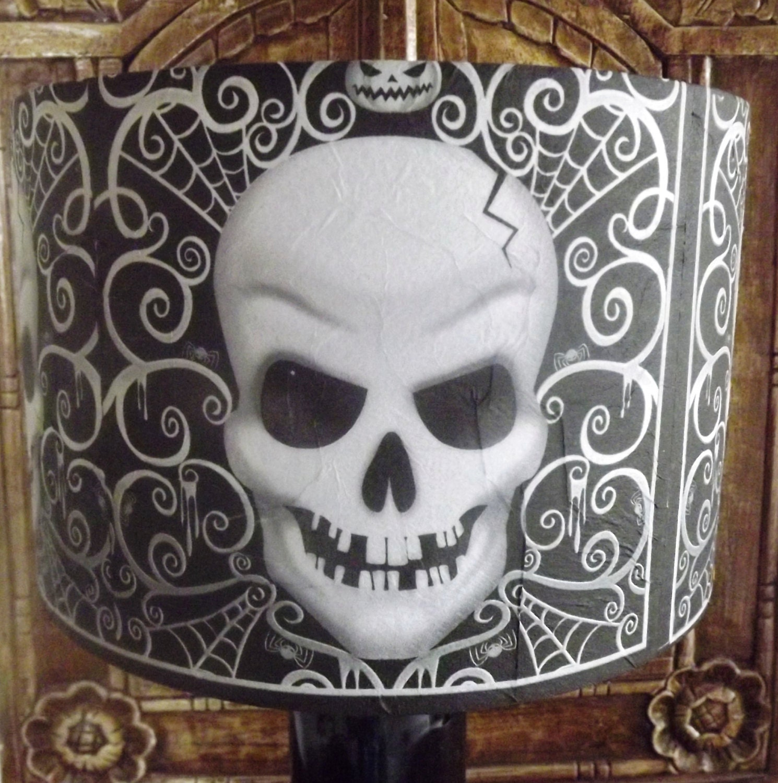 Gothic Skull  Lampshade black  white by Fatta da Mamma FREE GIFT