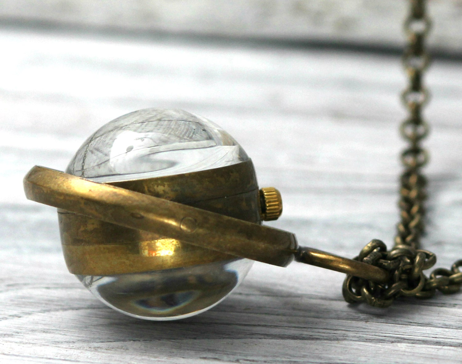 Glass Orb Domed Steampunk Mechenical Watch Necklace W Rustic Brass Frame Detail- Steampunk Stargate Inspired By Coughing Cow & Chicken - CoughingCowNChicken