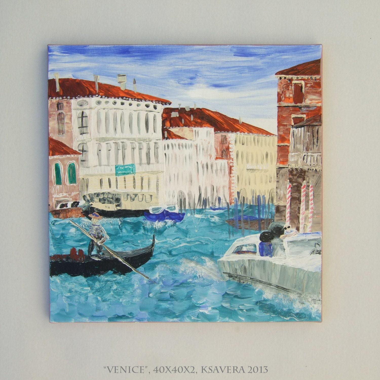 Venice Italy Original Palette Knife Art Italian Landscape Modern Acrylic Painting 16x16 Landscape Venezia grand canal blue beige palazzo - KsaveraART