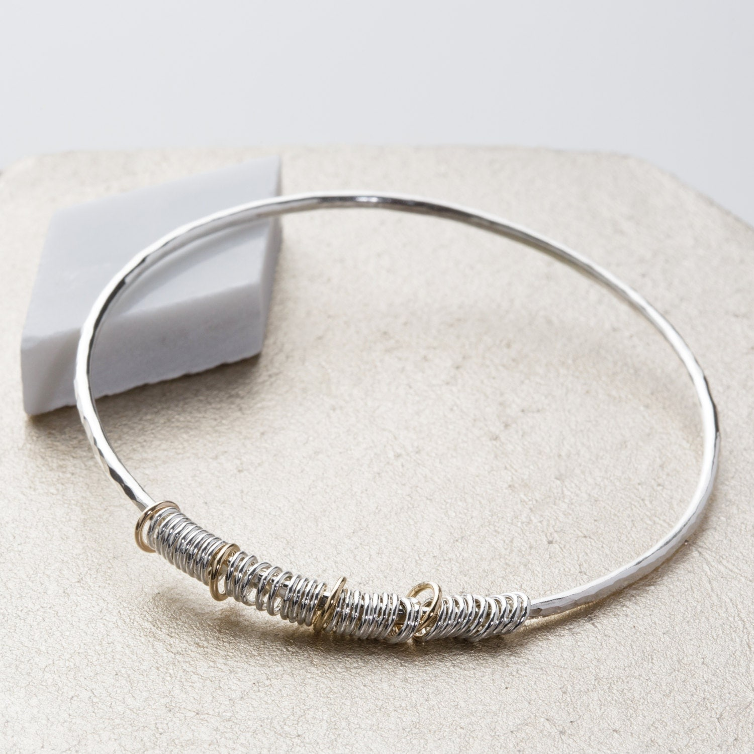 Silver and gold 40th birthday gift  40th birthday jewellery  contemporary bangle  sterling silver bangle  anniversary gift