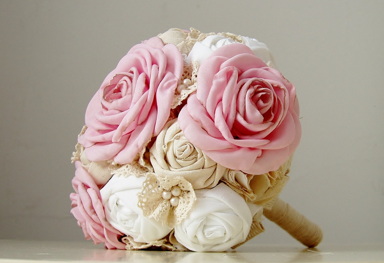 Fabric Bridal Bouquet,  Wedding  Fabric Bouquet, Pearls and Lace, Vintage Wedding, Pink Roses