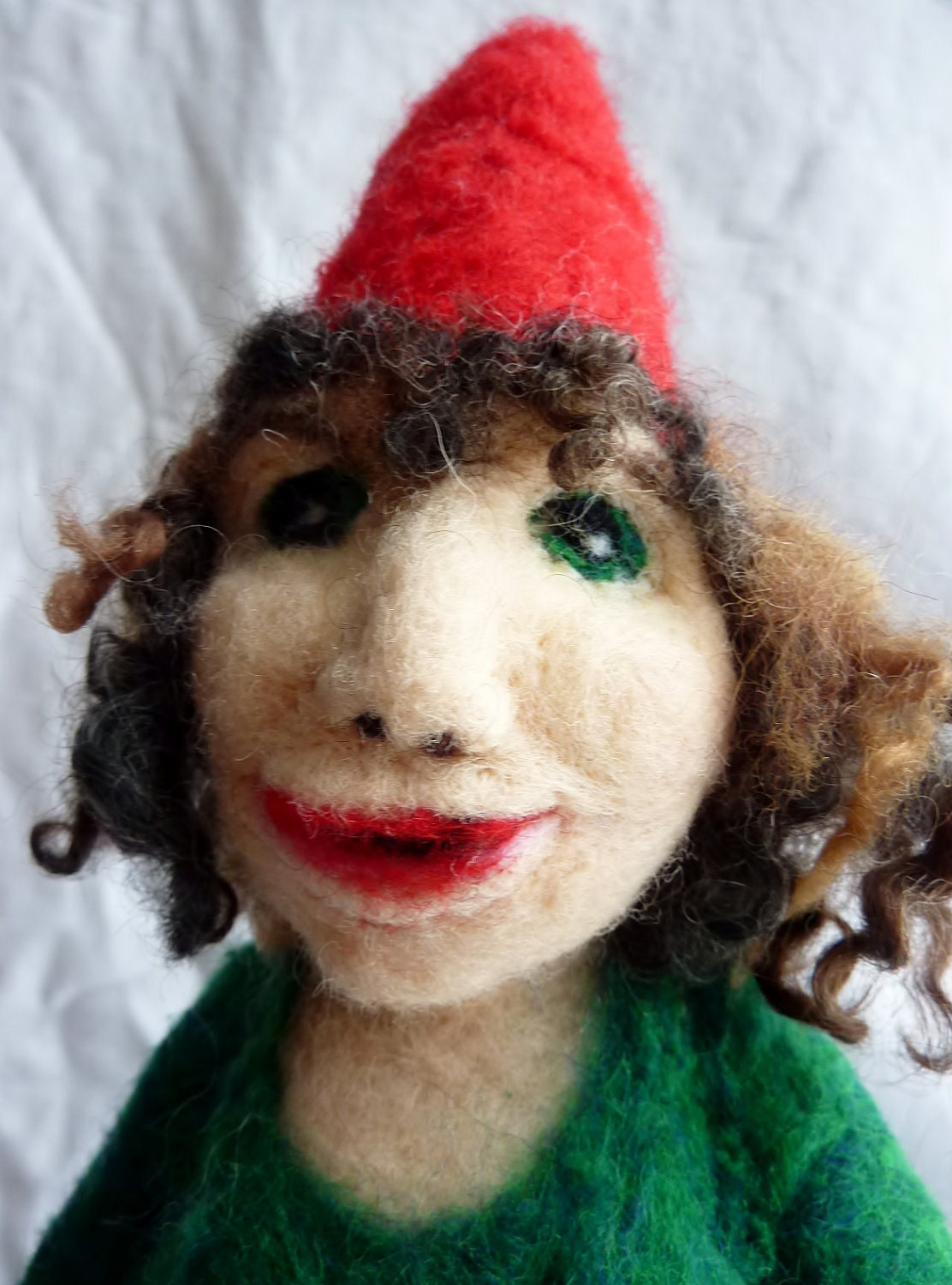 Needle Felted Gnome Girl with Felted Toadstool Mushrooms