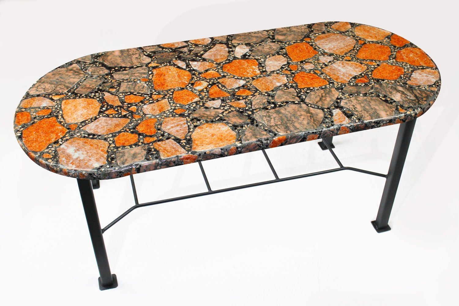 Orange calcite marble coffee table by thirdrockstoneart on for Orange coffee table