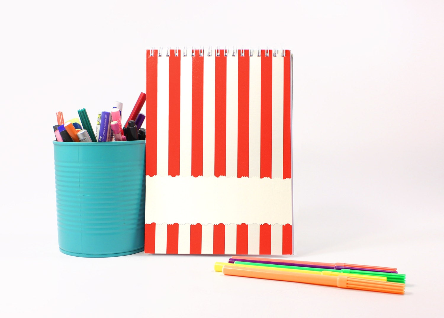 hardback sketchbook notebook journal, in red and white stripes oldschool - studioPlanD