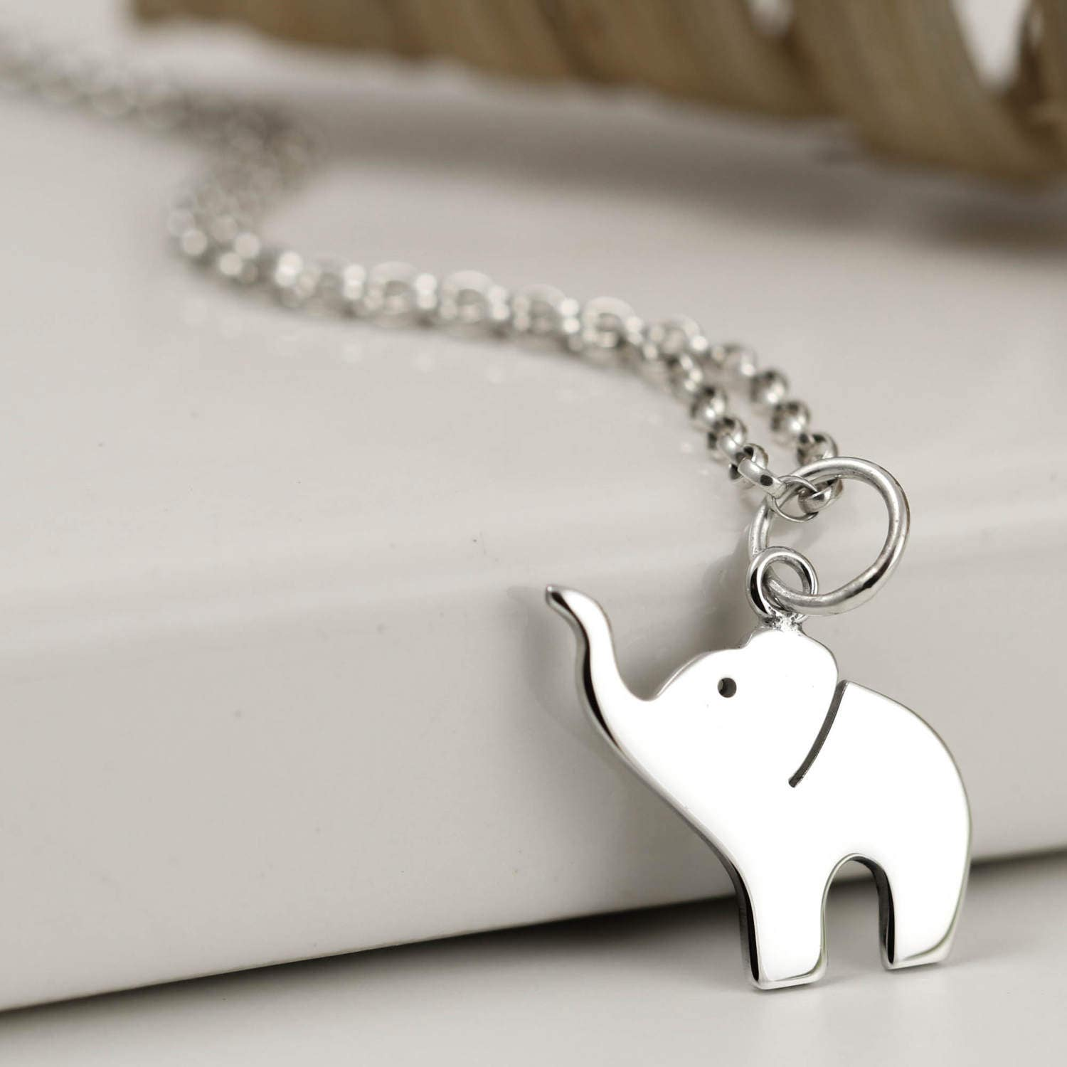 Elephant Necklace  Sterling Silver Elephant Jewellery  Sterling Silver Jewellery  UK Jewellery  Elephant Lover Gift
