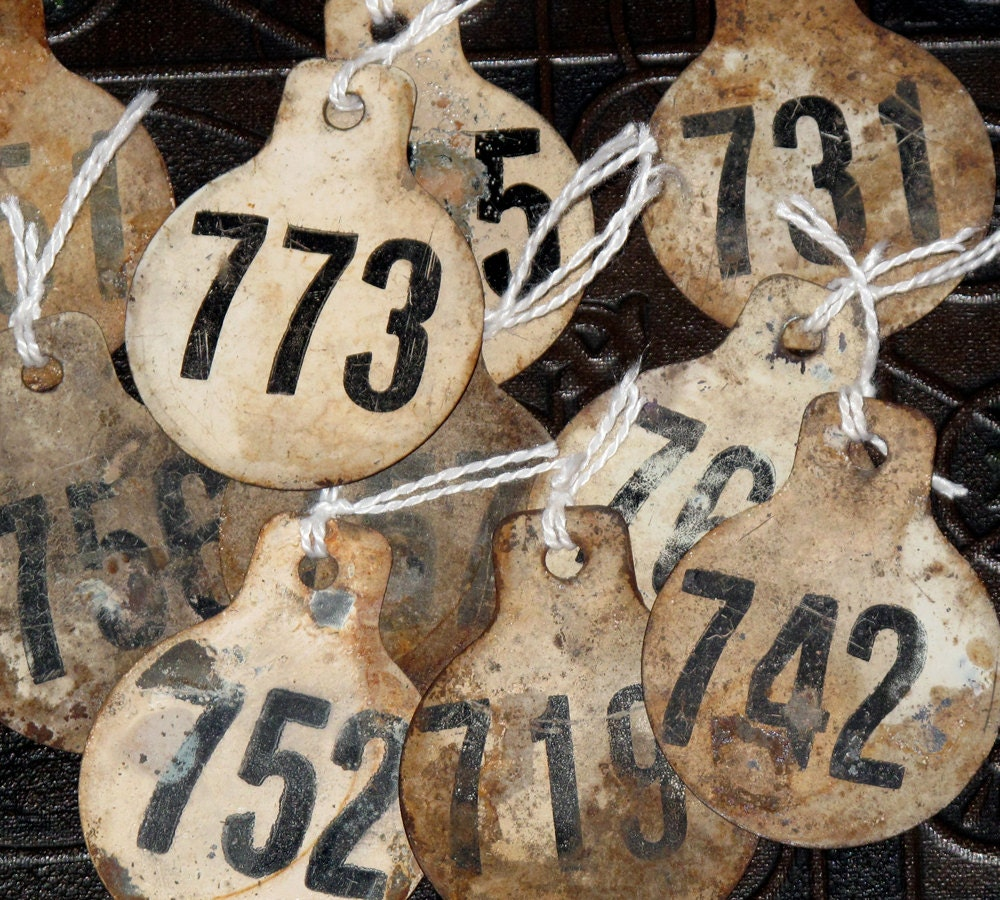 Metal Number Tags Vintage Antique