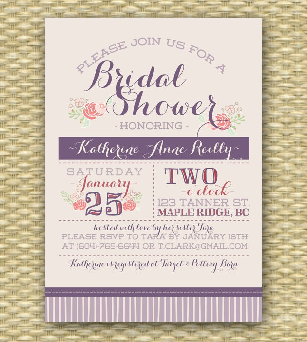 Wedding/Bridal or Baby Shower Invitation - Typography Blooms ...