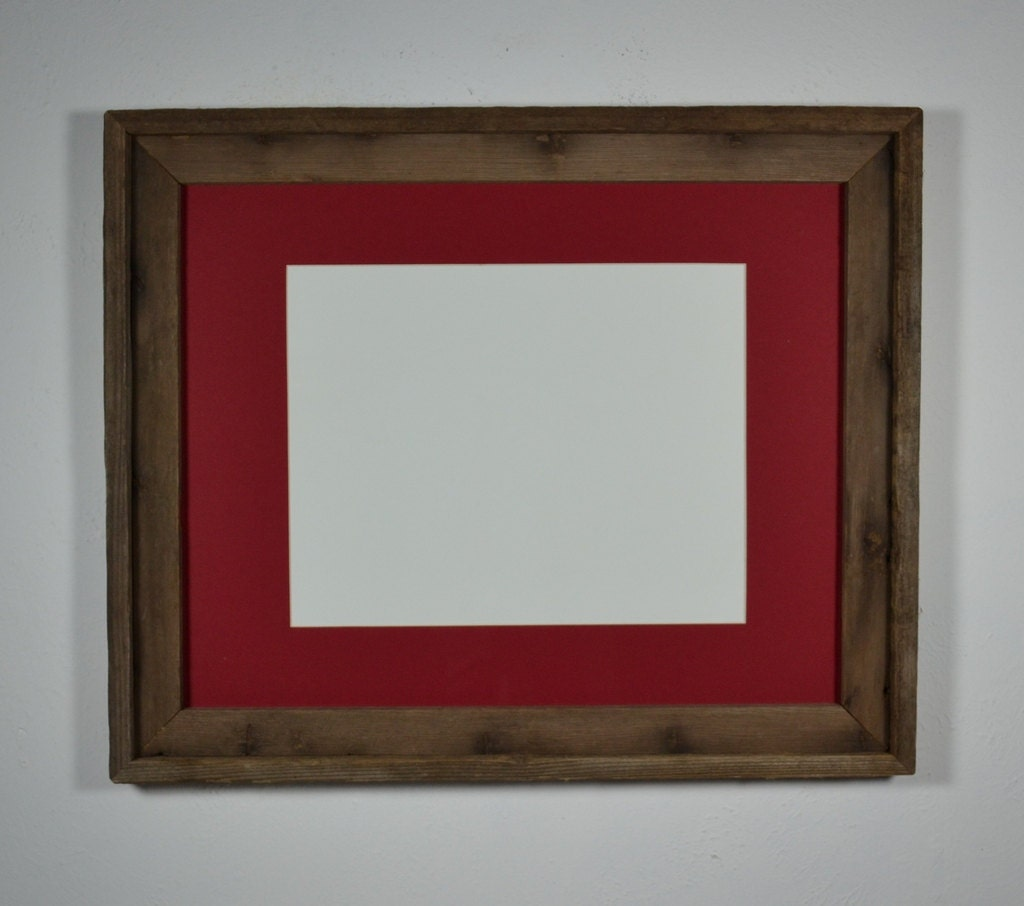 16x20 Recycled Barn Wood Frame Red Mat For 11x14 By Barnwood4u