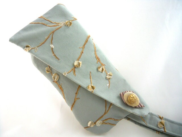 Wristlet unique sage green with handmade brooch special evening bag