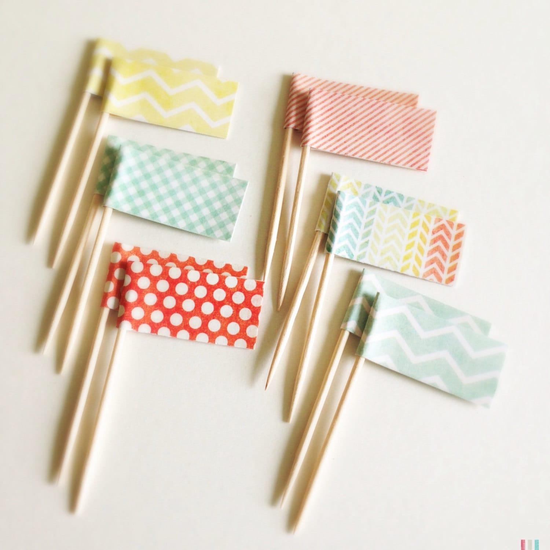Бумажные флажки на палочке своими руками