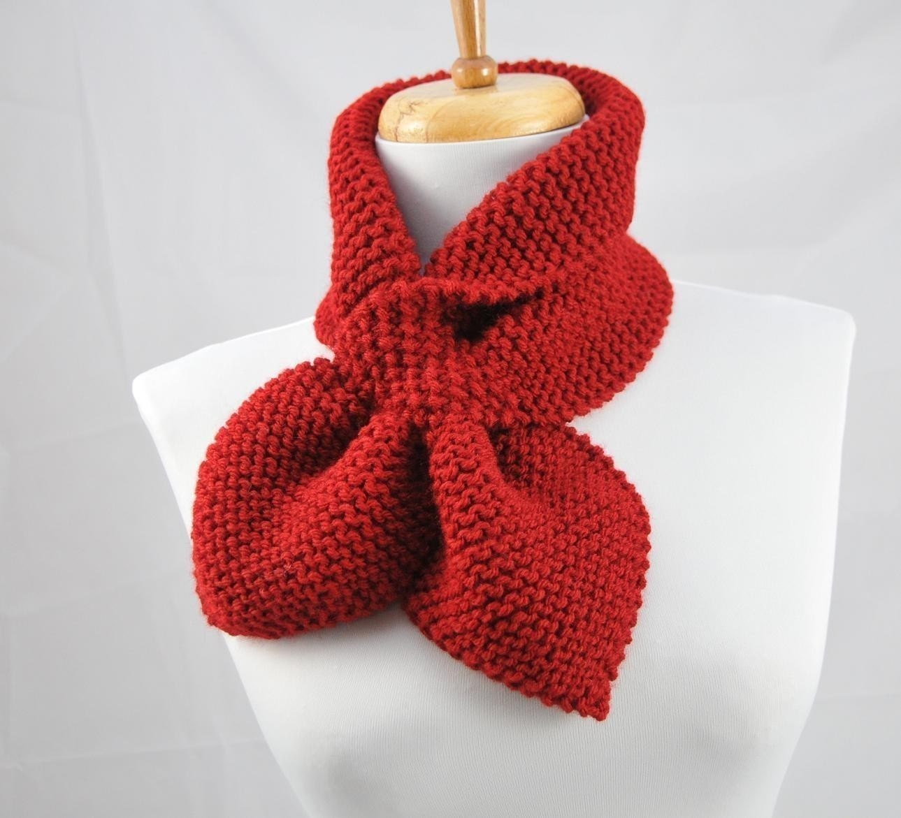 Knitted Keyhole Scarf Pattern : Knitting Pattern Knit Keyhole Pull Through Stay Put by PhylPhil
