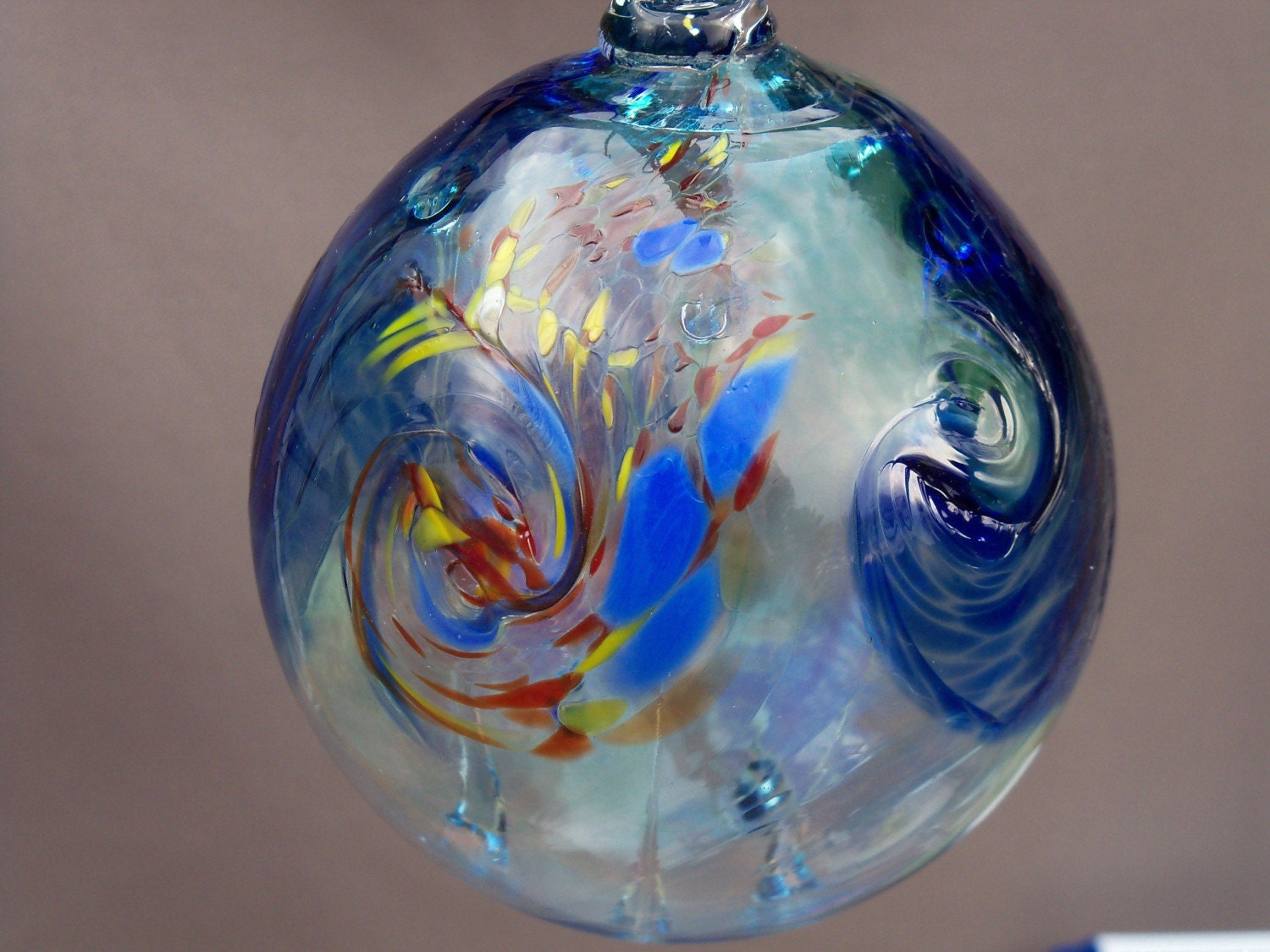 Hand blown art glass witch ball ornament by route on